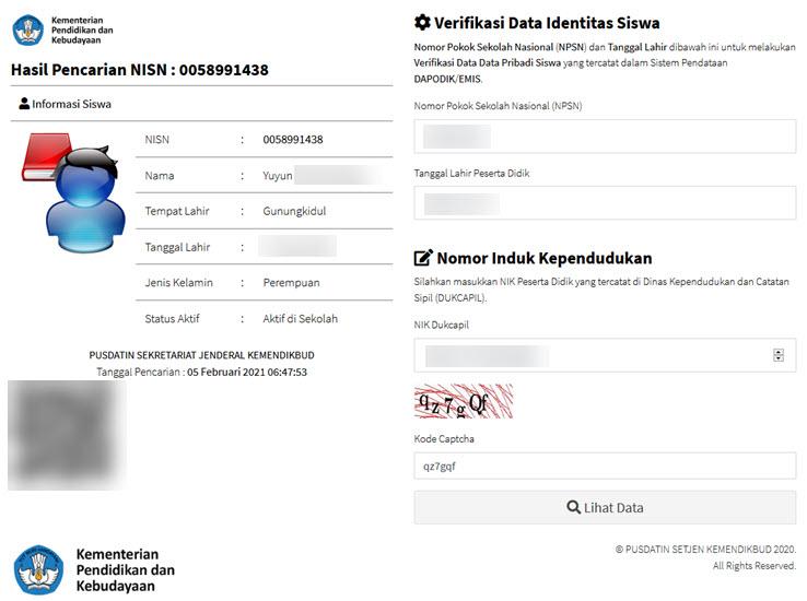 Cara Verval Pd kelas 6 9 dan 12 di nisn.data.kemdikbud.go.id